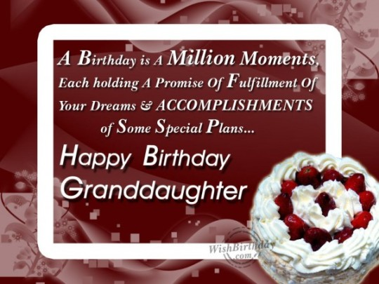 Sweet Birthday Wishes With Greetings For My Granddaughter