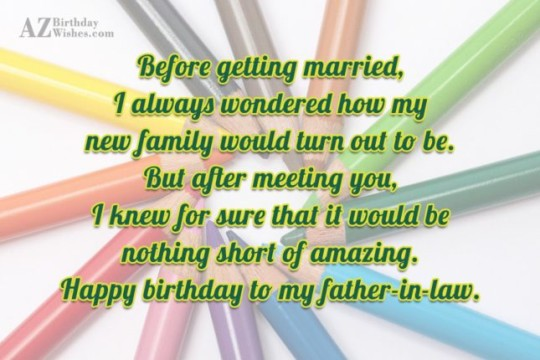 Sweet Father In Law Birthday Wishes Greeting Message E-Card 7s