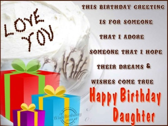 True Dreams Daughter Birthday Wishes With Greetings Message E-Card