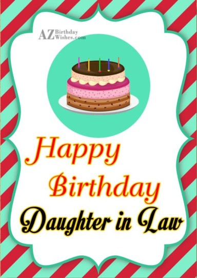 Vintage Birthday Greeting Card With Savory Cake For Daughter In Law