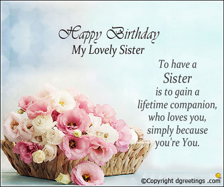 Wonderful Birthday Wishes With Greetings For My Sister
