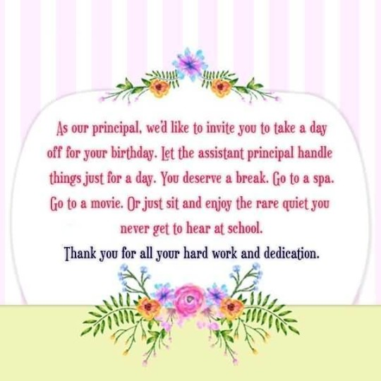 Wonderful Principal Birthday Message E-Card