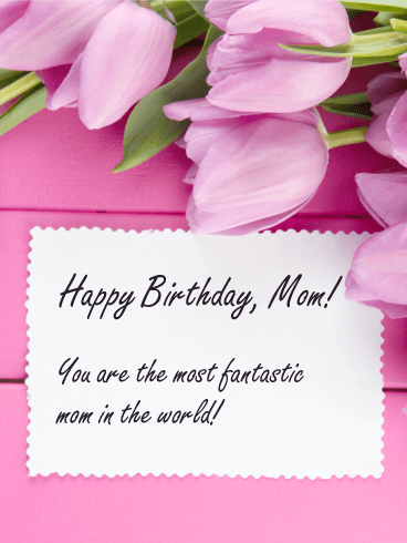 World Best Mom Birthday Card With Flowers And Great Idea Nicewishes